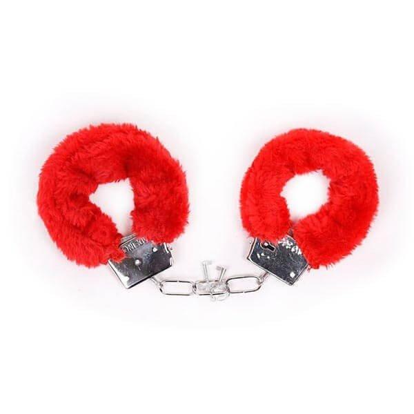 røde håndjern fra 5 dels be naughty bdsm sæt