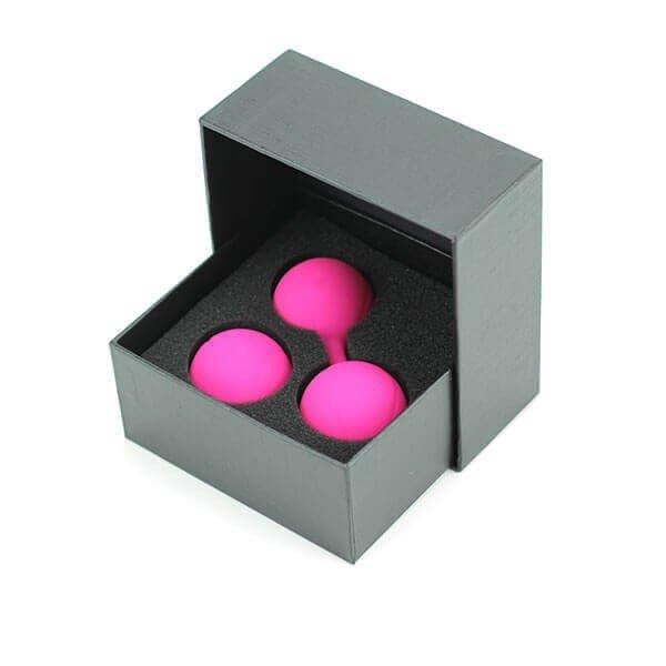 Bækkenbundskuglesæt 2 stk i pink fra Delight samt indpakningen