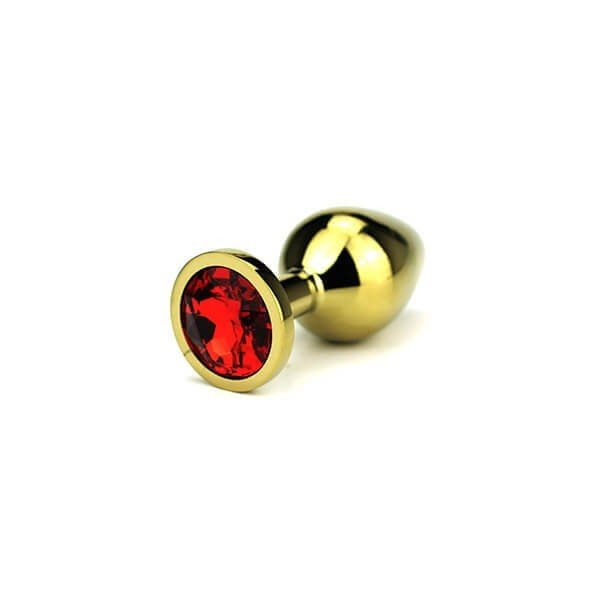 butt plug i guld med diamant med rød farve i bunden