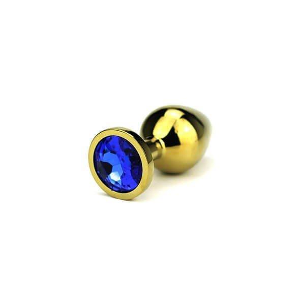 Delight butt plug i guld farve med en blå diamant i bunden