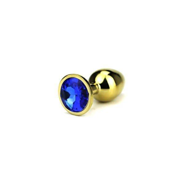small Guld farvet butt plug med blå diamant i foden