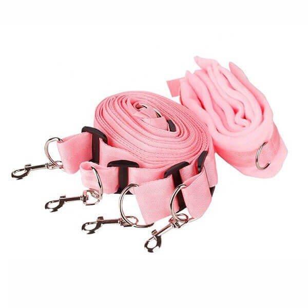 pink 4-dels fikseringssæt fra simplepleasure til seng