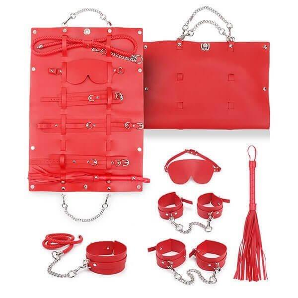 rødt bondage sæt med rejsetaske fra playhard