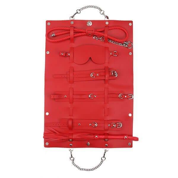 rejsetaske fra rødt bondage sæt fra playhard