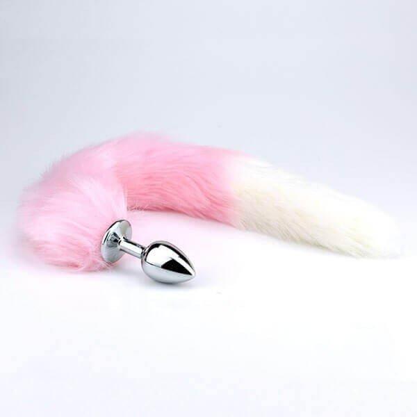 lyserød stål buttplug med pink og hvid hale fra safeword