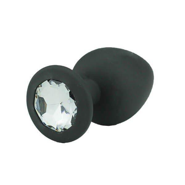 sort silikone butt plug med krystal