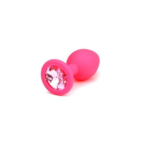 pink small anal plug fra simplepleasure med glas krystal