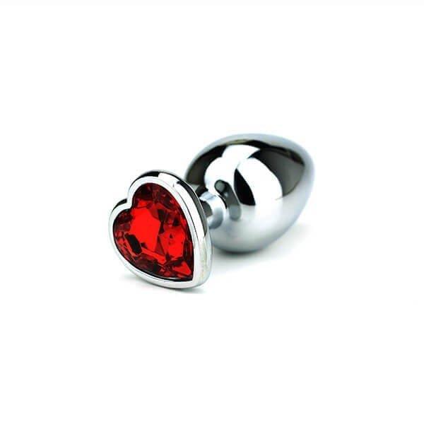 Large Butt plug med rød hjertet formet krystal i bunden