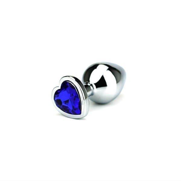 medium størrelse butt plug med blå hjertet formet krystal i bunden