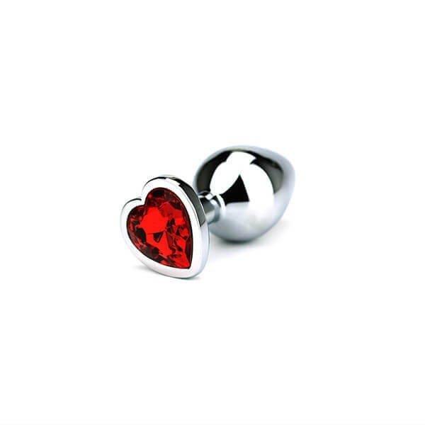 medium størrelse butt plug med rød hjertet formet krystal i bunden