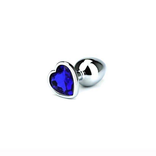 small Stål butt plug med hjerte i blå krystal