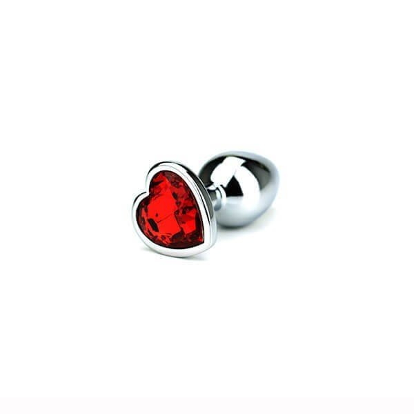 Hjerte formet bund i rød krystal butt plug