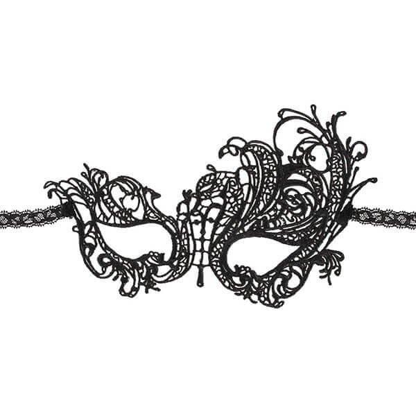 elegant broderet sort polyester maske fra cottelli