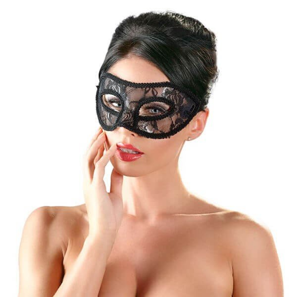 sort polyester maske lace fra cottelli på model