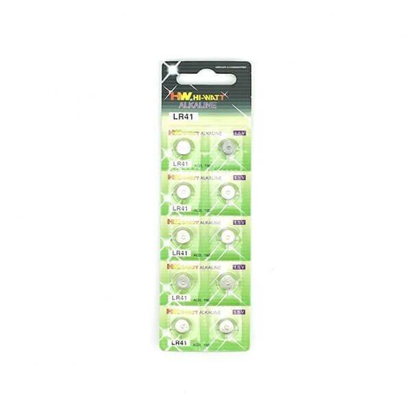 10 stk Hi-Watt Alkaline LR-41 batterier