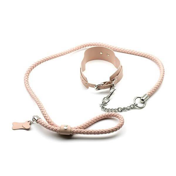 pink halsbånd med lang kæde og hundetegn fra simplepleasure