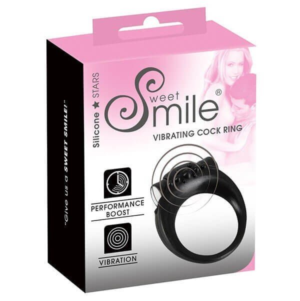 Sort silikone penisring med vibrator fra sweet smile i indpakning