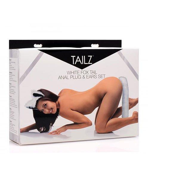 tailz hvid hale anal plug med ræveører